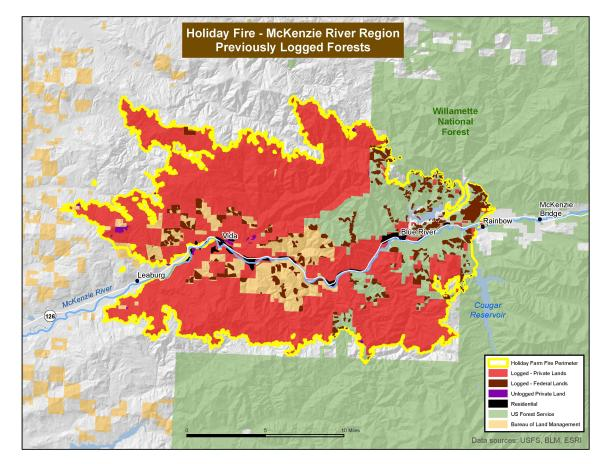 Holiday Farm Fire map