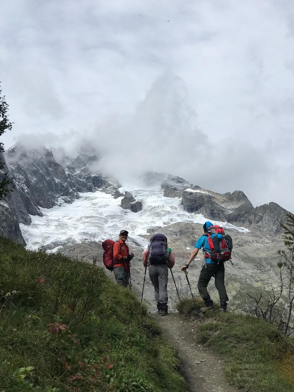 Our hikers on the flanks of Mont Blanc
