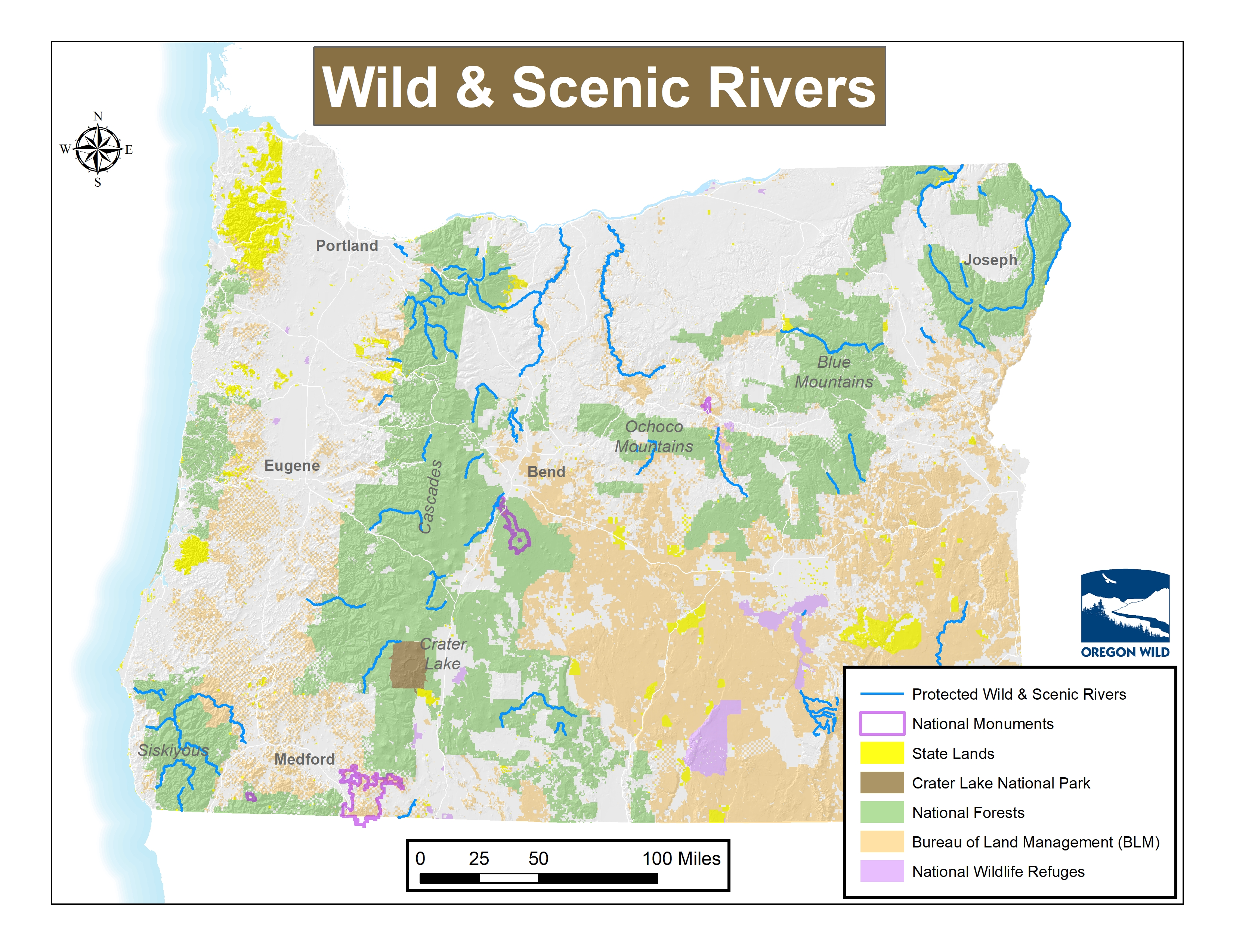 Map of Oregon's Wild and Scenic Rivers | Oregon Wild Map Of Eugene on